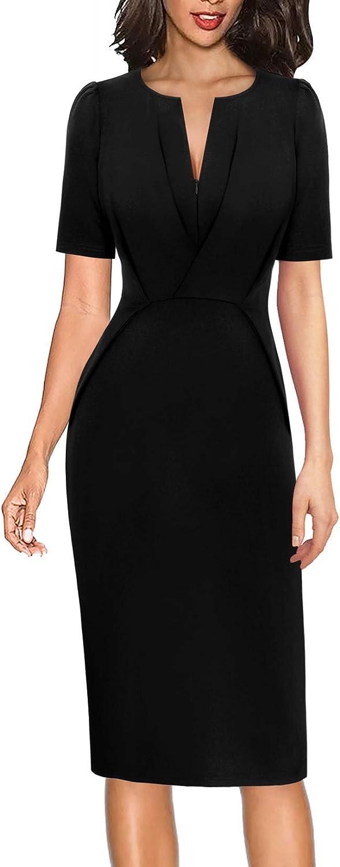 VFSHOW Womens Zipper Front Slim Puff Sleeve Work Business Office Pencil Dress