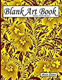 Blank Art Book: Sketchbook For Drawings, Artists Edition, Color Yellow With Brown, Vegetable Ornaments Theme (Soft Cover, White Stout Paper, 100 Pages, Big Size 8.5' x 11' ≈ A4)