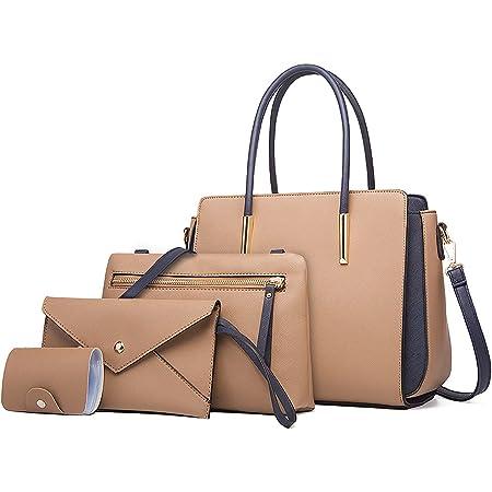 LUOWAN Handtasche Damen Gross Leder Groß Schultertasche Henkeltasche Damen Umhängetasche Damen Taschen Shopper Damen 4-teiliges Set
