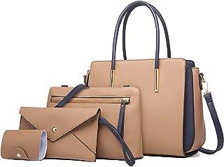LUOWAN Handtasche Damen Gross Leder Groß Schultertasche Henkeltasche Damen Umhängetasche Damen Taschen Shopper Damen 4-tei...