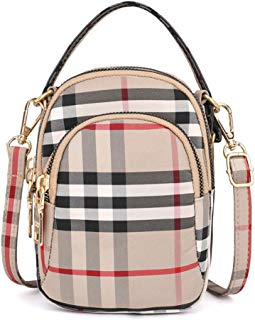 Aigemi Multi Zipper Pocket Plaid Small Crossbody Bag Handbags Cell Phone Purse Wallet for Women