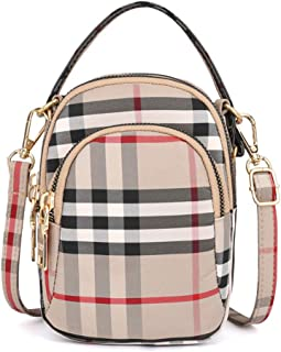 Aigemi Multi Zipper Pocket Plaid Small Crossbody Bag Handbags Cell Phone Purse Wallet for Women