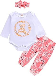 Newborn Baby Girl Clothes Long Sleeve Romper Bodysuit Tops Floral Pant Set with Headband 3PCS Fall Outfits