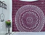 Popular Handicrafts Kp744 Wandteppich mit silbernem Ombre-Stil, Hippie-Mandala-Wandteppich, Wandkunst, Bohemian-Tagesdecke, mit metallischem Glanz, 215 x 230 cm, Kastanienbraun