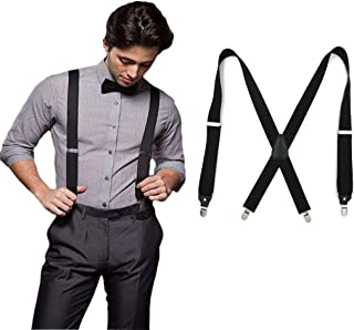 CZHEZEE Men's Suspenders X Shape Utility Suspenders with 4 Clips Adjustable Elastic X-back Clips