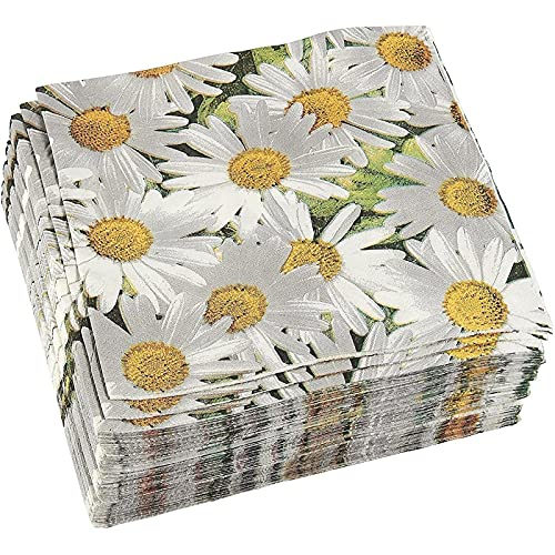 White Daisy Paper Napkins for Baby Shower, Wedding, and Birthday Party (6.5 x...