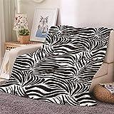 Chickwin Flanelldecke Kuscheldecke, 3D Drucken Wohndecke Weiche Warm Decke Flauschige TV-Decke Mikrofaserdecke Sofadecke oder Bettüberwurf Tagesdecke (Zebra Muster,180x200cm)