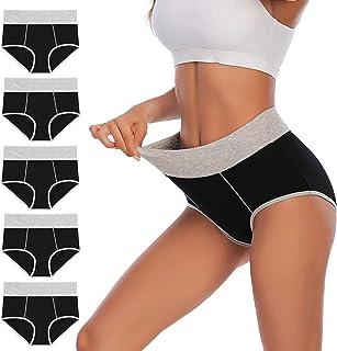 YaShaer Bragas de cintura alta para mujer, ropa interior de algodón suave, elástico, calzoncillos de cobertura completa, b...