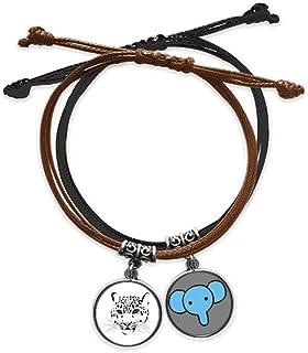 CaoGSH Bracelet en cuir avec tête de tigre blanche et cordon de main