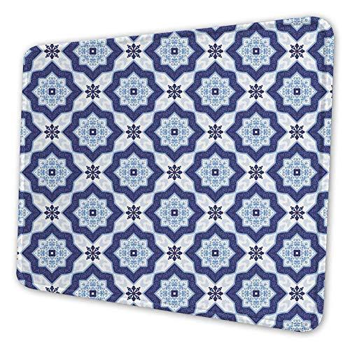 Rechthoekige Mousemat Mousepad, Traditioneel Portugees Azulejo Tegel Vintage Stijl Bloemen Mozaïek Patroon