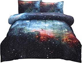 JQinHome Full/Queen 3-Piece Galaxies Blue Comforter Sets - 3D Outer Space Themed - All-Season Down Alternative Quilted Duvet - Reversible Design - Includes 1 Comforter, 2 Pillow Shams