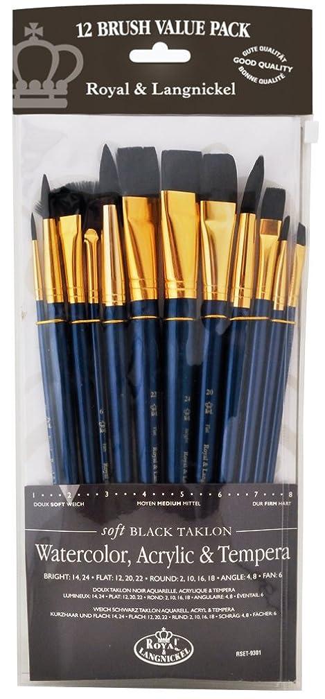 Royal & Langnickel - 9300 Series  10760:Zip N' Close 12-Piece Black Taklon Brush Set 1 - RSET-9301