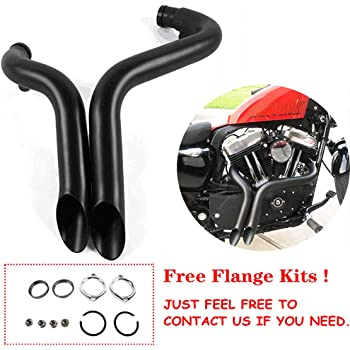 """Black 1.75/"""" Drag Pipes Exhaust Fit For Harley Davidson Sportster XL883 1986-2013"""