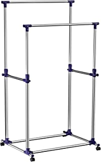 """SONGMICS Double Rod Adjustable Rolling Clothes, ULLR03B, Stainless Steel, Blue, 34.3"""""""