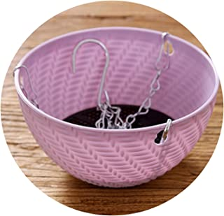 Hanging Basket Rattan Woven Plastic Flowerpot with Chain Houseplant Planter,Purple