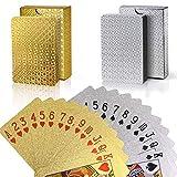REYOK 2 Sets Plastic Poker Cartas 100% Impermeable Juego de Mesa de Naipes de plástico Resistente a Las lágrimas Oro, Plata