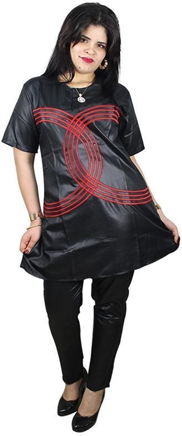 African Clothing for Women 2piece TopPants Embroidered Black Bazin Dashiki Soft Fabric  Ladies