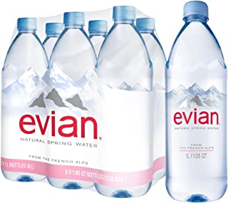 evian Natural Spring Water 1 Liter 33.8 Ounce, 6 Count, Naturally Filtered Spring Water in Large Bottles
