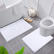 Smiry Bathroom Rugs and Mats Set, 2 Piece Chenille Bath Mat and U-Shaped Toilet Rug Set, Machine Wash Dry, Non Slip Absorb...