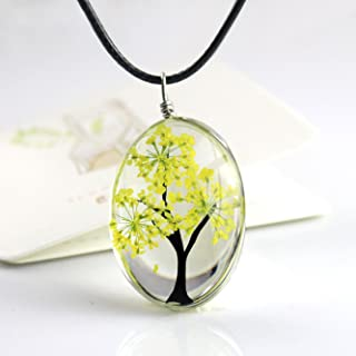 Unicra Tree of Life Pendant Necklace Time Gem Cabochon Flower Inside Necklace for Women and Girls (Golden)