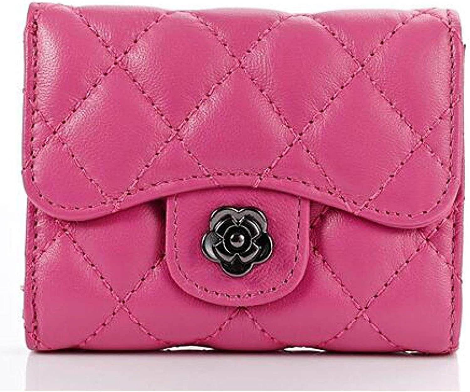Evening Clutch Bag Female Short Paragraph Small Purse Europe And The United States Lingge Trifold Ladies Wallet Purse Handbag (color   pinkred, Size   One Size)