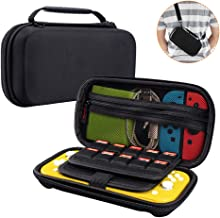 Orzero Hard Carry Case for Nintendo Switch Lite and Accessories, 20 Game Card Slots Protective Travel Storage Hard Shell Bag with Adjustable and Removable Shoulder Strap - Black