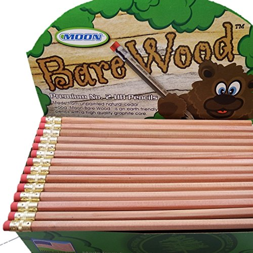 Moon Products Bare Wood Natural Premium Pencils Number 2 HB (144 pencils)