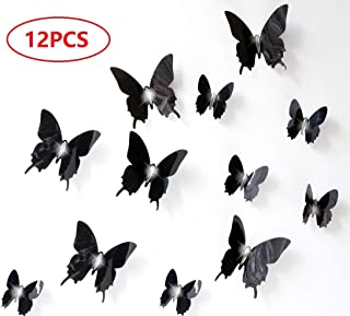 Cimostar 12pcs 3D ButterflyWall Stickers 3D Wall Decals for Living Room Bedroom TV Wall Decals,Black