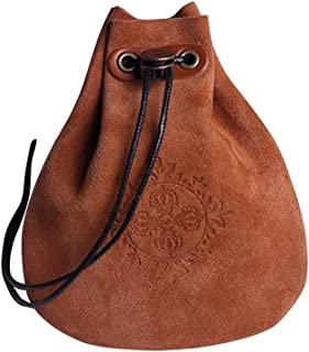 STOBOK Vintage Purse Leather Pouch Drawstring Gift Bag Jewelry Storage Bag Coin Purse - Brown