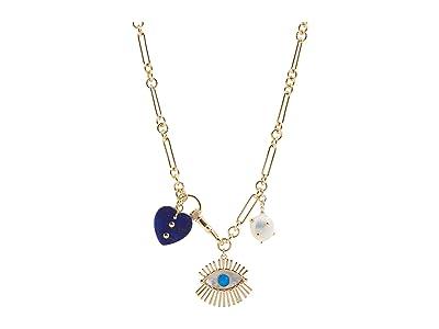 Rebecca Minkoff Evil Eye Charm Necklace with Signature Dog Clip Closure (Gold/Dark Blue) Necklace