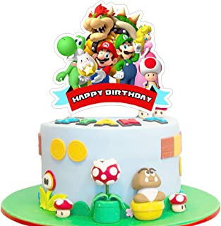 Mario Cake Topper Birthday Cake Cupcake Decorations Party Supplies Toppers for Fans of Mario