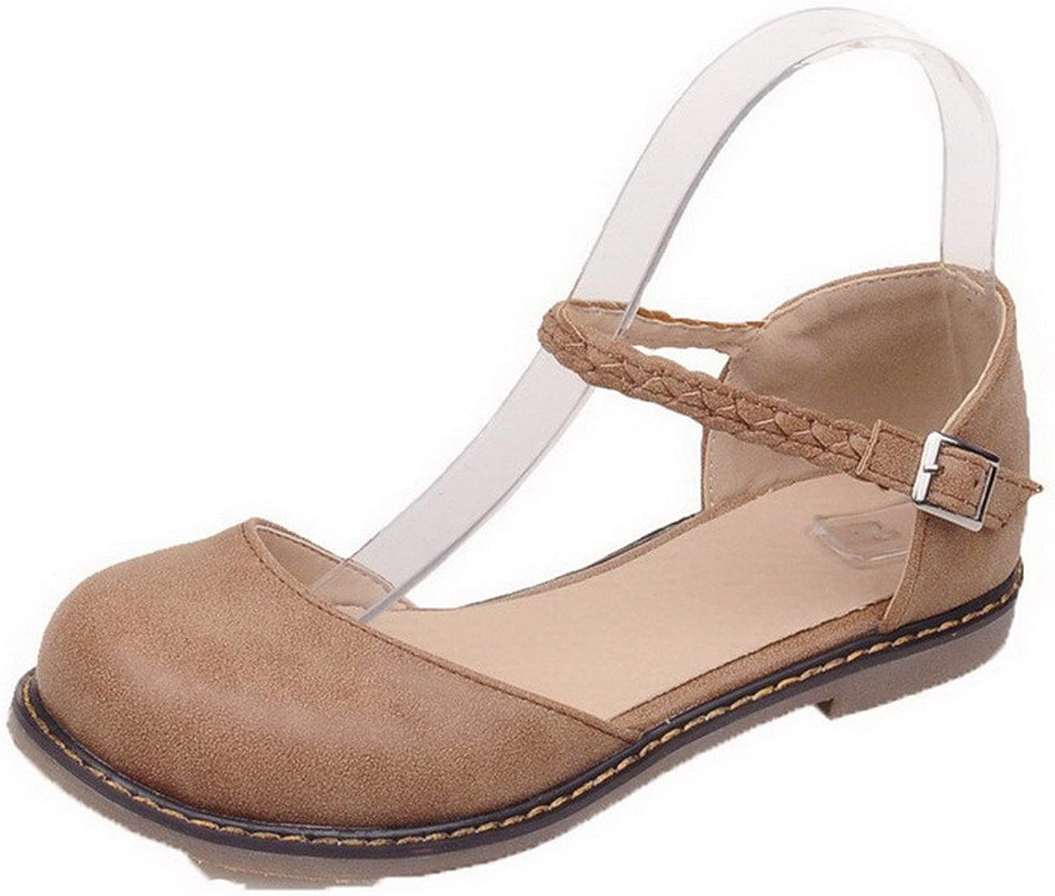 WeiPoot Women's Low-Heels Pu Solid Buckle Closed Toe Sandals, EGHLG005041