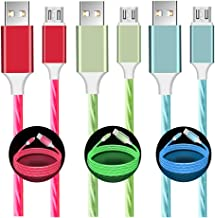 Micro USB Cable LED Visible Flowing Lighting Up Fast Charger Syncing & Data Cord for Samsung, LG, Motorola and Android Device - Easy to Find Power Cord Great for Car, Night & More (Blue/Red/Green)