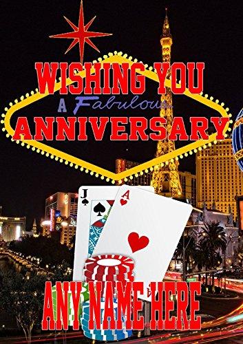 Nevada Las Vegas Glücksspiel Happy Anniversary Karte Mia1Karte personalisierbar Grußkarte