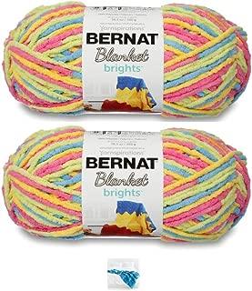 Bernat Blanket Brights Yarn - Big Ball (10.5 oz) - 2 Pack Bundle with Pattern (Sweet & Sour Varg)