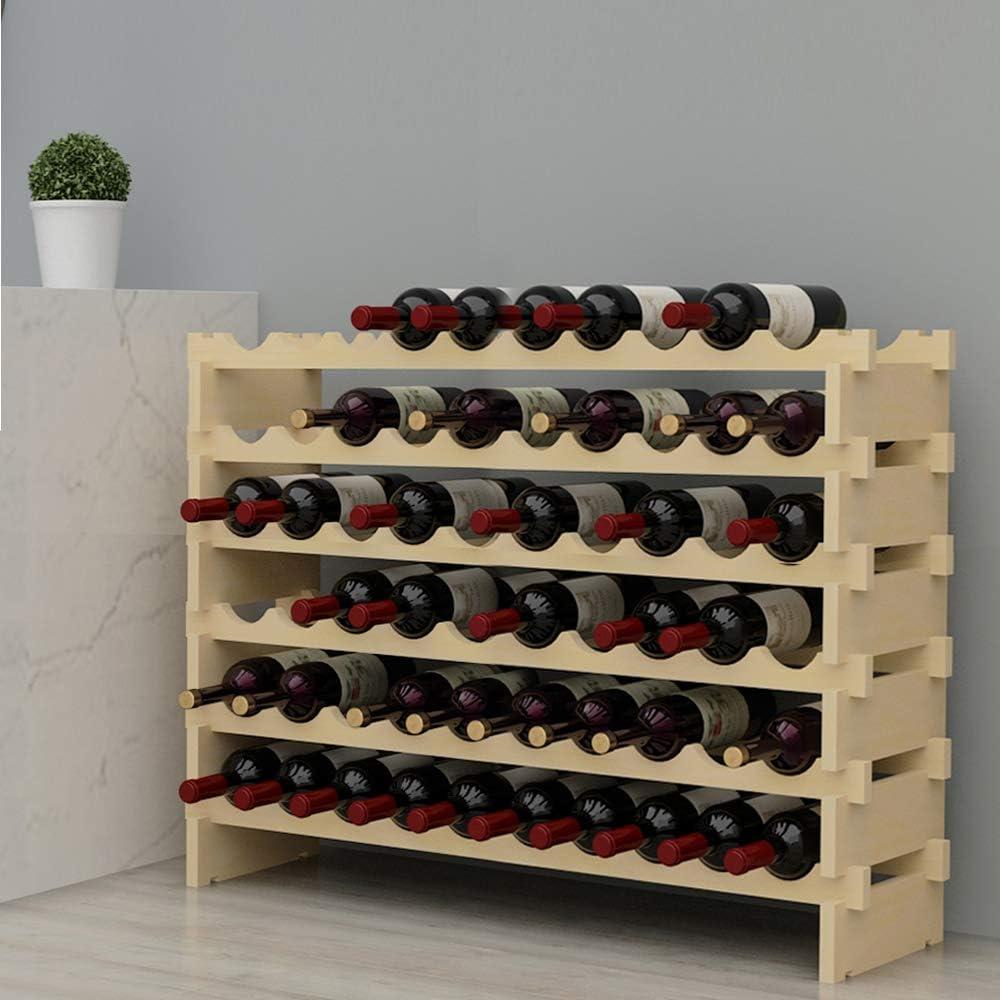 sogesfurniture Botellero de Madera para 60 Botellas de Vino con 6 Niveles, Soporte para Botellero Estante de Vino para Estantería de Presentación de Cocina y Barra, BHEU-BY-WS002