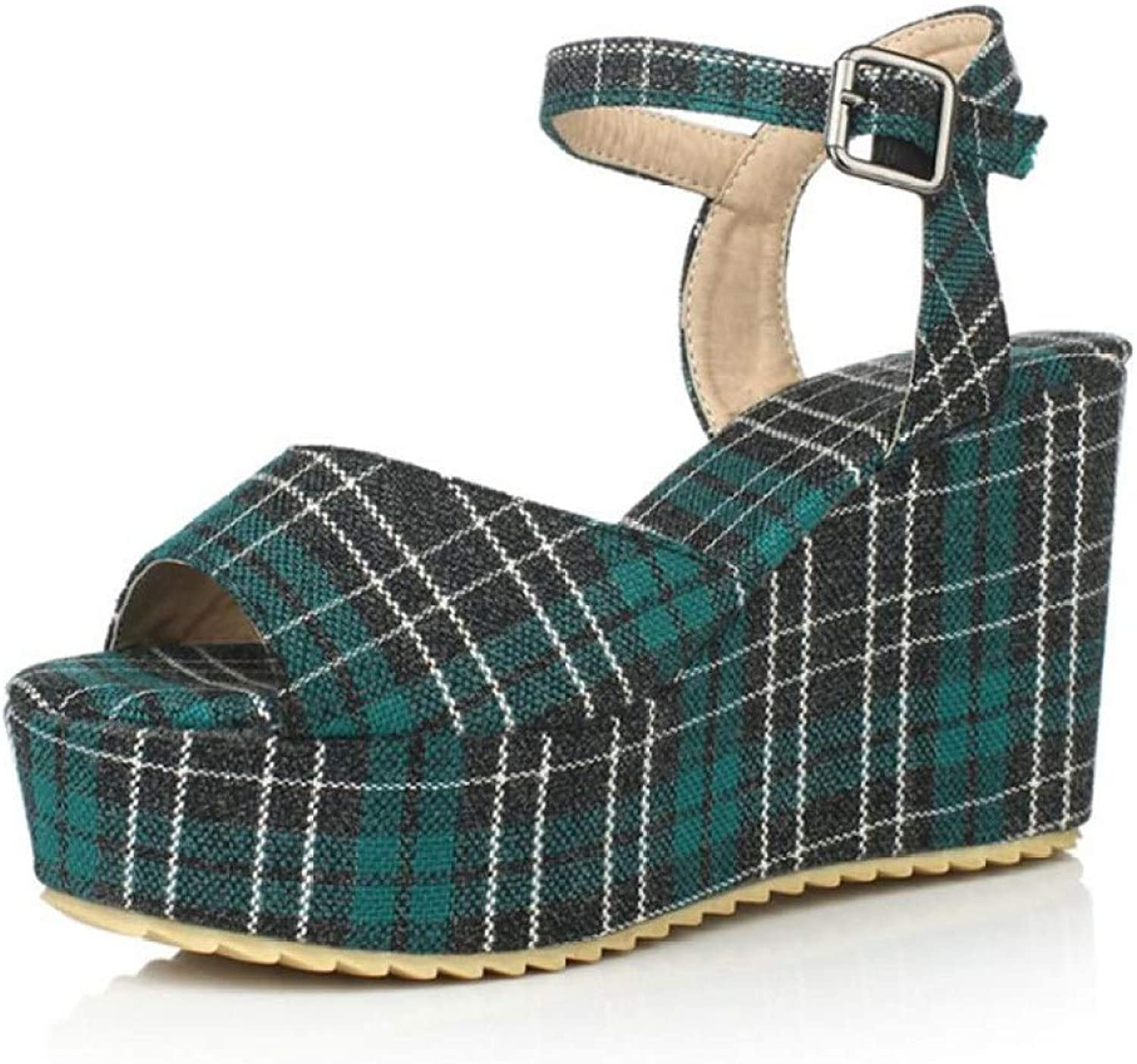 Woman's Plaid Print Wedge Platform High Heel Ankle Buckle Strap Sandals Open Toe Casual Party Footwear