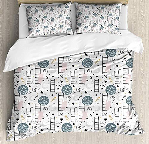 Asaffs Funda de edredón infantil tamaño Super King, mensaje Love You to The Moon con osos de doodle, escaleras, juego de cama decorativo de 3 piezas con 2 fundas de almohada, multicolor