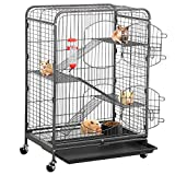 go2buy 37-inch Metal Rat Ferret Cage - 4 Level Small Animals Hutch w/ 2 Front Doors/Feeder/Wheels Indoor Outdoor for Pet Chinchilla Squirrel Sugar Glider Black