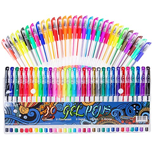 Gel Pens, 30 Colors Gel Marker Set Colored Pen with 40% More Ink for Adult Coloring Books, Drawing, Doodling Crafts Scrapbooks Bullet Journaling