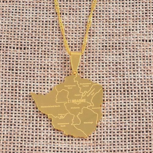 BACKZY MXJP Collar Mapa De Zimbabwe con Collares con Colgante De Ciudad Color Dorado para Mujeres Niñas Cadenas De Mapas De Zimbabwe De Acero Inoxidable 60Cm