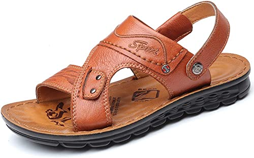 DYFAR Mens braun Echtes Leder Einstellbare Touch Fasten Comfort Gladiator Sommer Sandalen Schuhe Größe 6 8.5 9.5 10