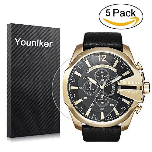 Youniker 5Pack Diesel, Pellicola Diesel Pellicola Protettiva per Diesel DZ4344Mega Chief Watch Trasparente, HD, Anti-graffio, Anti-Impronte, Bubble Free Film