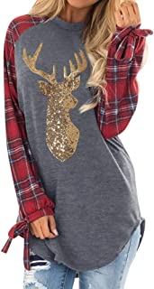 BODOAO Womens Long Sleeve Tunic Tops Pullovers Sweatshirt Christmas Reindeer Blouses T-Shirt