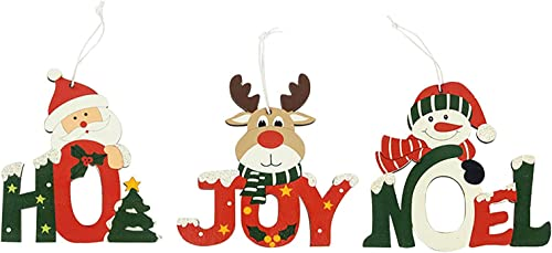 discount Christmas Wooden Ornaments high quality Wooden Santa Claus Snowman Elk Hanging Decorations Xmas outlet online sale Tree Pandent for Home Wall Decoration, 3pcs online sale
