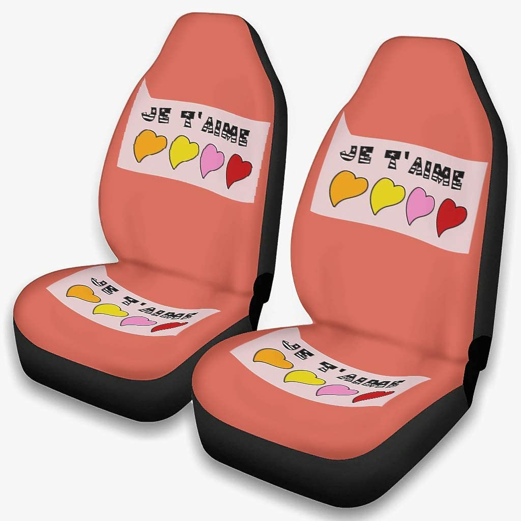 Auto Front Seat Cover Je Quantity limited T'aime Cov I Shipping included Love You Elastic