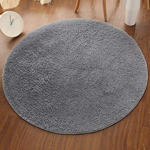 Teppich Runder Shaggy Zimmerteppich Waschbar Sitzkissen Teppich für Kinderzimmer, Schlafzimmer, Wohnzimmer Silbergrau Durchmesser 110cm