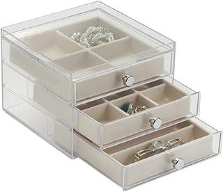 mDesign Organizador con cajones – Ideal joyero organizador para pendientes, anillos, broches, etc. – Si está buscando cómo organizar bisutería este es el joyero ideal – Color: transparente/marfil