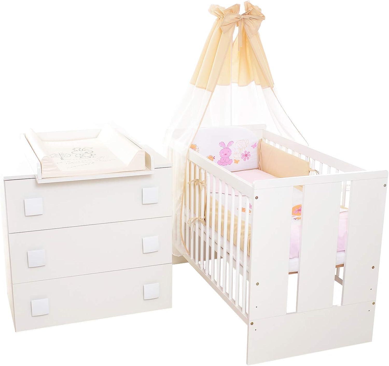 13Tlg. Kinderzimmer Babyzimmer Hase - Wickelkommode, Babybett, voll Ausstattung