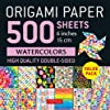 Origami Paper 500 Sheets Rainbow Watercolors 6 in 15 Cm: Tuttle Origami Paper: High-quality Double-sided Origami Sheets Printed With 12 Different Designs Instructions for 6 Projects Included